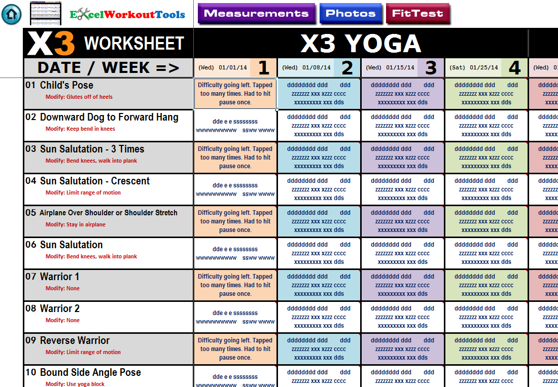 Excel Spreadsheet Workout Tracker Tool Nutrition Guide