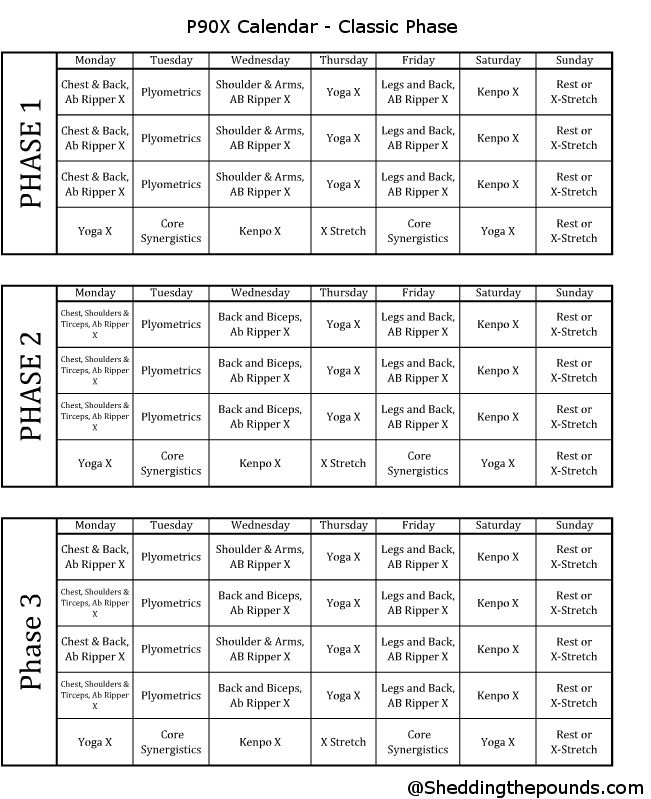 Here Is A Printable Format Of The P90x Calendar There Are