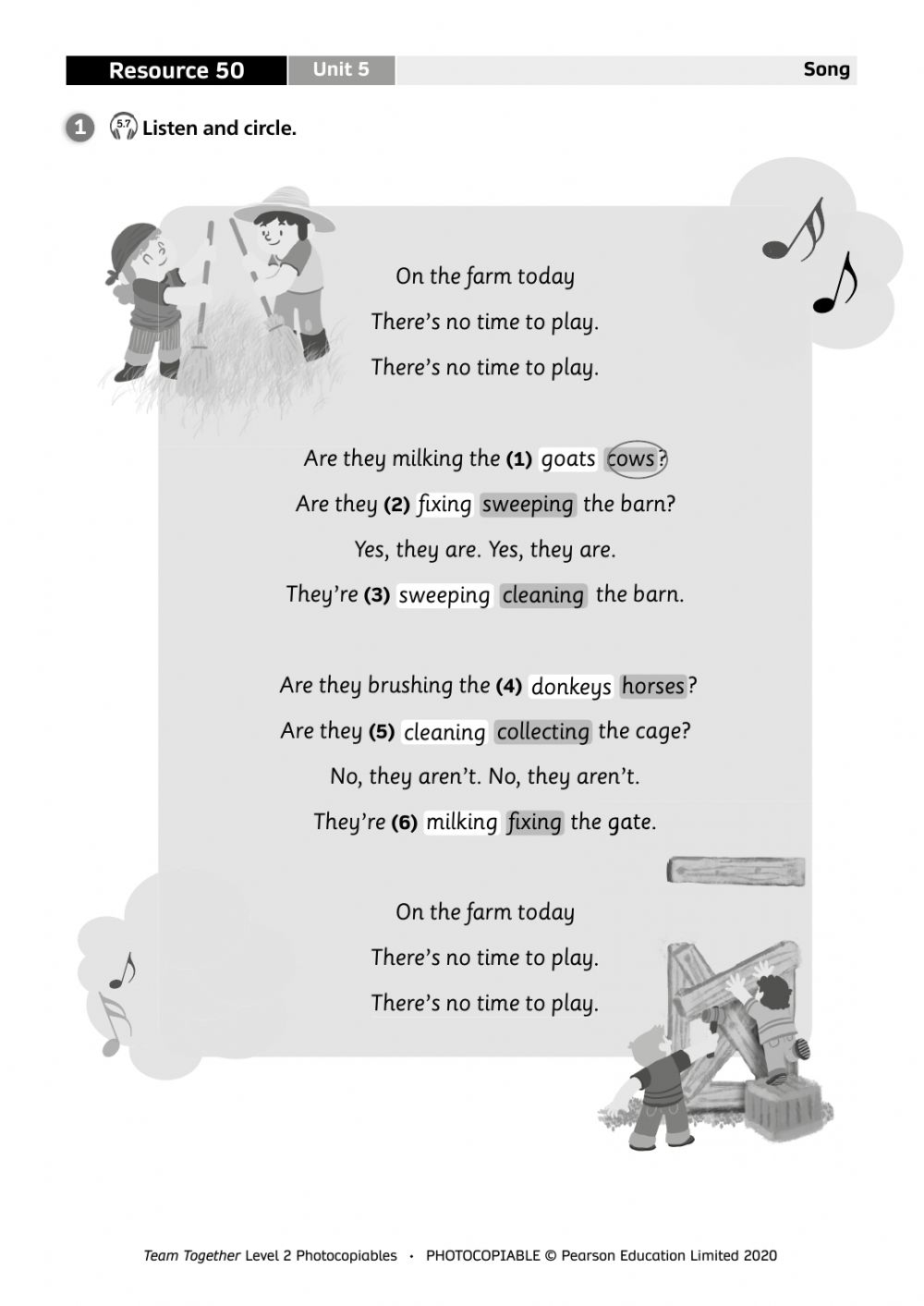 On The Farm Song Interactive Worksheet