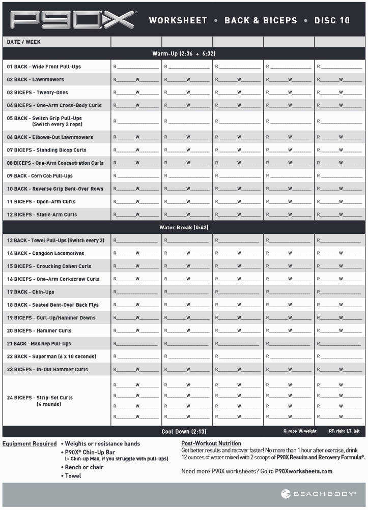 P90x Worksheet Homeschooldressage