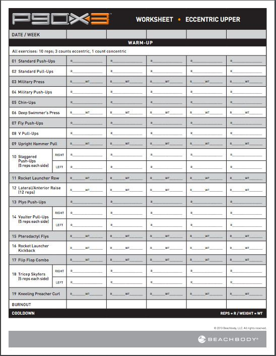 P90X3 Workout Sheets P90X3 Eccentric Upper Free PDF