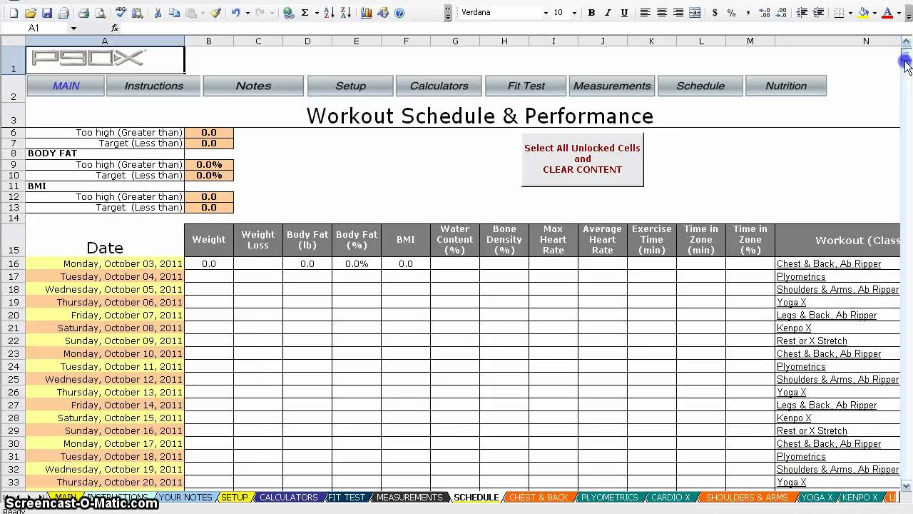 P90x Spreadsheet Natural Buff Dog