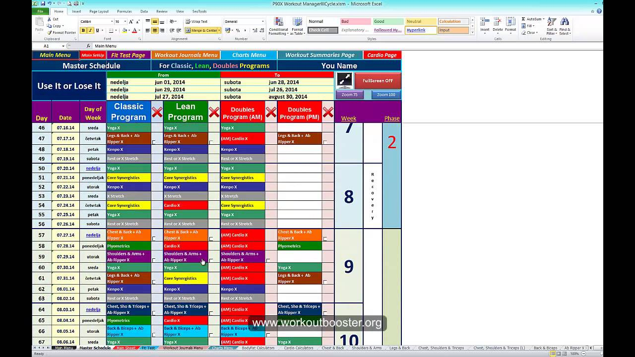 P90X Workout Schedule Calendar In Excel Sheets YouTube