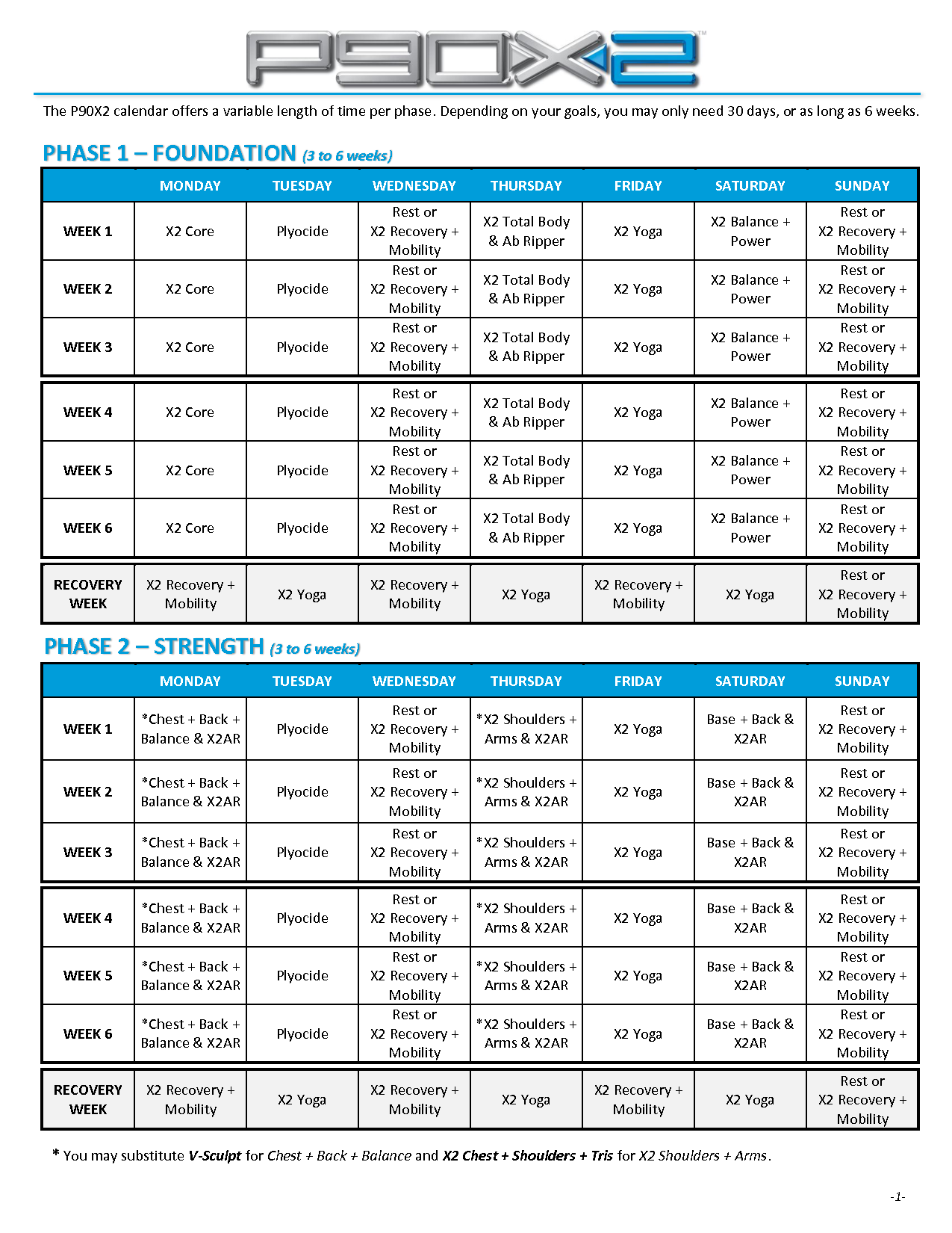 P90X2 Workout Schedule Printable DOWNLOAD COMPATIBLE DVD