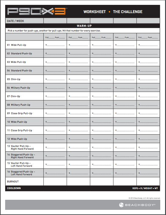 P90X3 The Challenge Worksheet Workout Sheets Workout