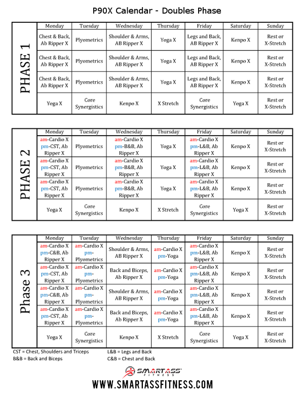 Doubles P90X Schedule Smart Ass Fitness