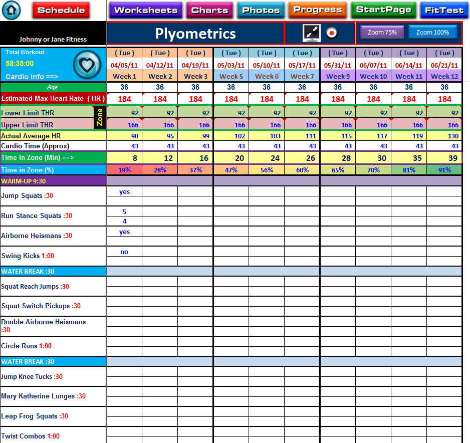 Image Detail For p90x Plyometrics Workout Log Sheet With