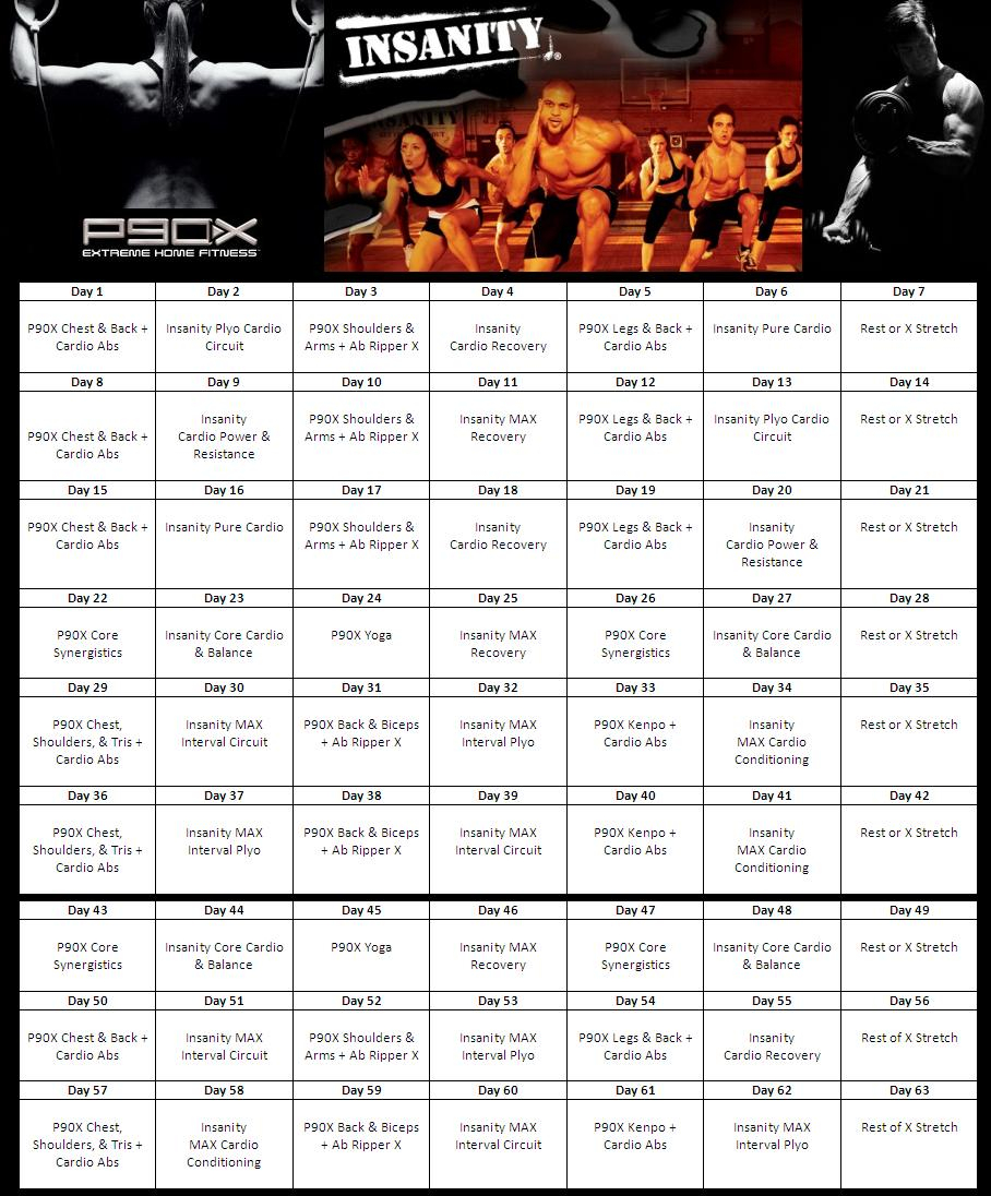 Insanity P90X Hybrid Calendar Fitness Routing