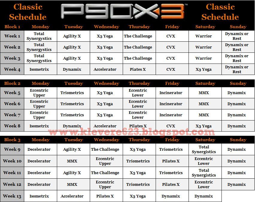 Learning To Love Me P90X3 Schedule And Calendar P90x3