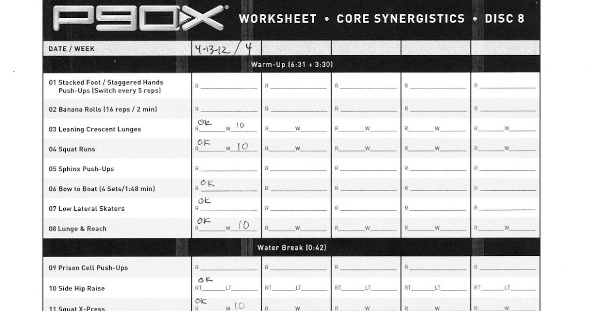 My P90X Diary Day 23 Core Synergistics Rest And