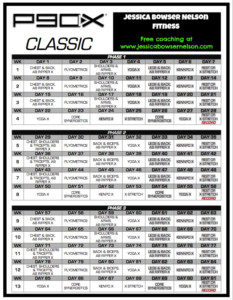 P90X Schedule Jessica Bowser Nelson Fitness