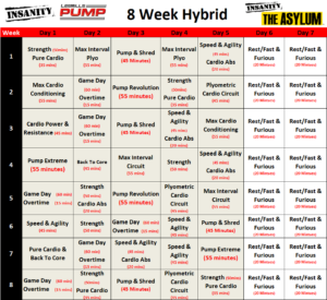 8 Week Hybrid Of Insanity Les Mills Pump And Insanity