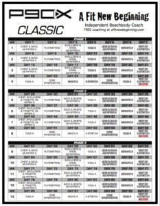 P90X Workout Schedule Classic Programme D exercice