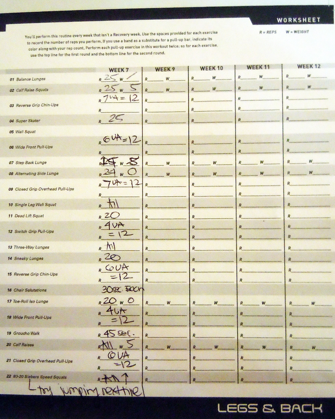 P90x Workout Sheets Sweatandsmiles
