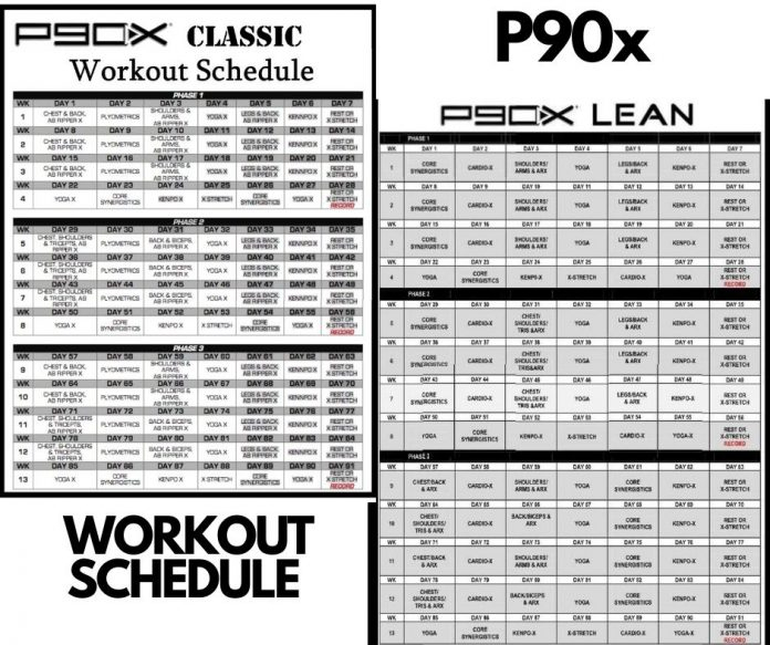 The P90X Workout Schedule Classic Lean Doubles