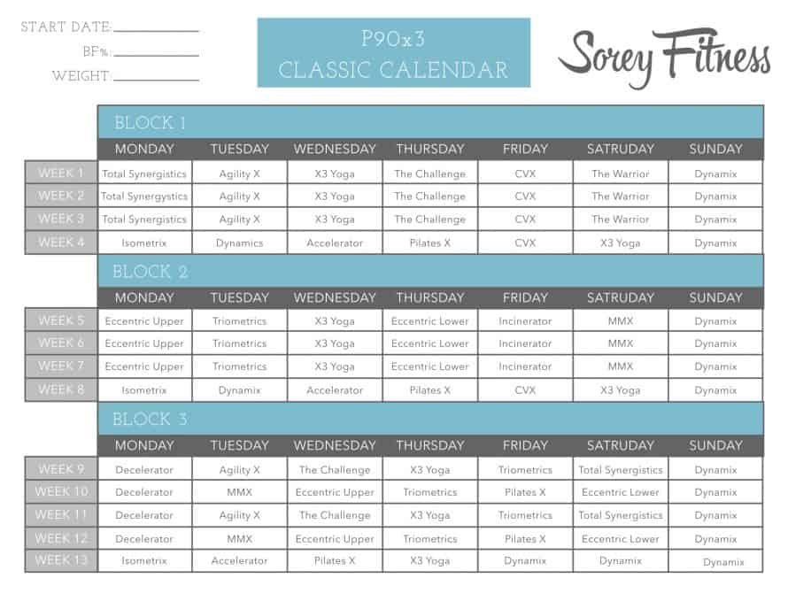 P90X3 Workout Schedule Printable P90x Worksheets