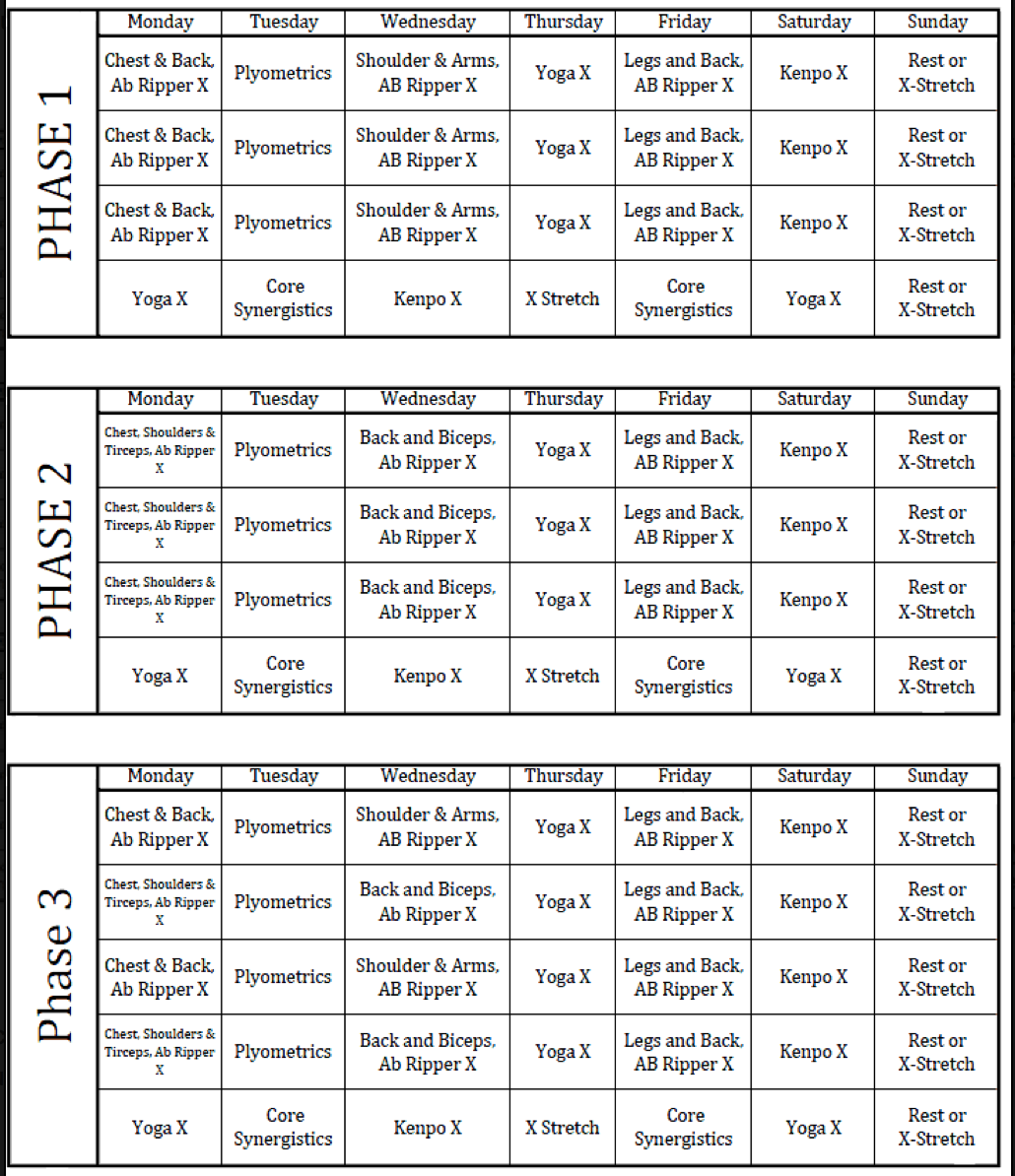 Picture P90x Workout Schedule Lean Workout Workout Sheets